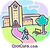 Vector Clip Art graphic  of a school building