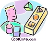 Vector Clipart illustration  of a student putting blocks into a