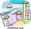 Vector Clip Art image  of a worker looking at a safety manual