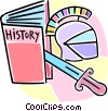 Vector Clipart graphic  of a history book and artifacts