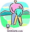 person learning to golf Vector Clip Art image