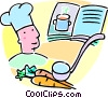 Vector Clip Art image  of a chef and a cookbook