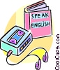 learning to speak English using tapes Vector Clip Art picture