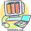 Vector Clip Art graphic  of a school books on a Rom-rom