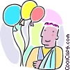 boy with his arms in a sling and balloons Vector Clipart image