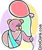 Vector Clipart picture  of a teddy bear with his arm in a sling