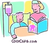 woman reading to a sick child in the hospital Vector Clipart picture