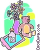 flowers in a vase, stuffed animal and medicine Vector Clip Art picture