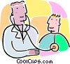 doctor listening to heart with stethoscope Vector Clipart graphic