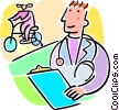 Vector Clipart graphic  of a doctor watching a person ride