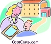 Vector Clipart graphic  of a nurse with a patient