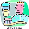 person with a cup of water and a toothbrush Vector Clipart image