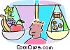 Vector Clipart illustration  of a scale with fruits and medicine