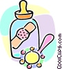 baby bottle with a band-aid and a rattle Vector Clipart illustration