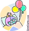 Vector Clipart picture  of a newborn baby and balloons