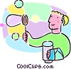 child blowing bubbles Vector Clipart graphic