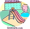 Vector Clip Art graphic  of a slide outside of the hospital