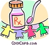 Vector Clipart illustration  of a medicine bottle and spoon