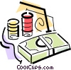 Vector Clipart illustration  of a poker chips and a stack of