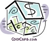 Vector Clip Art picture  of a container full of money