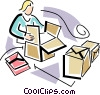 Vector Clip Art image  of a person picking up boxes