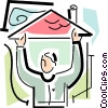 Vector Clip Art image  of a person with a roof over their