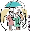 Vector Clip Art image  of a people standing under an
