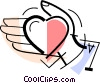 Vector Clipart picture  of a hand with a heart in it