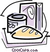 Vector Clip Art graphic  of a bread canned goods and cereal