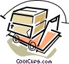 boxes on a dolly Vector Clip Art image