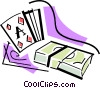 playing cards and a stack of money Vector Clip Art graphic