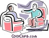 Vector Clipart picture  of a two people sitting in chairs