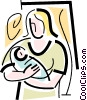 Vector Clipart image  of a mother with a newborn baby