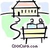 Vector Clip Art graphic  of a two people sitting on a bench