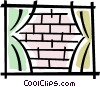 window looking at a brick wall Vector Clipart graphic