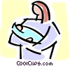 Vector Clip Art graphic  of a mother and baby