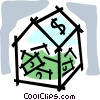 Vector Clip Art graphic  of a container full of money