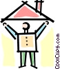 person with a house Vector Clip Art picture