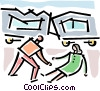 Vector Clipart picture  of a disaster victim