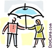 two people standing under an umbrella Vector Clip Art picture