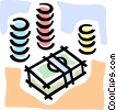 Vector Clipart picture  of a poker chips and cash