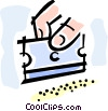 Vector Clip Art graphic  of a cocaine and a razor blade