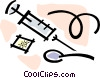 heroin, needle and syringe Vector Clipart image