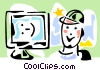 person looking at a computer monitor Vector Clip Art image