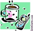 Vector Clipart graphic  of a cell phone and a cup of coffee