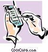 Hand working PDA Vector Clipart picture