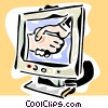 Vector Clip Art image  of a shaking hands on a computer