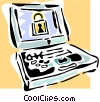 Vector Clip Art graphic  of a internet security