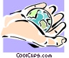 Vector Clip Art graphic  of a world in the palm of his hand