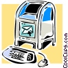 Vector Clip Art graphic  of a mailbox and computer keyboard